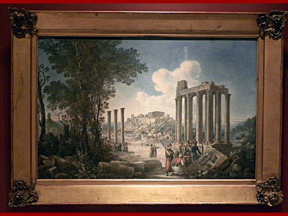 Atina Akropolisi ve Olympiya Zeus Tapınağı Louis-François Cassas Kağıt üstüne suluboya 1787-1827 Atina Akropolisi and Olympian Zeus Temple Louis-Franç