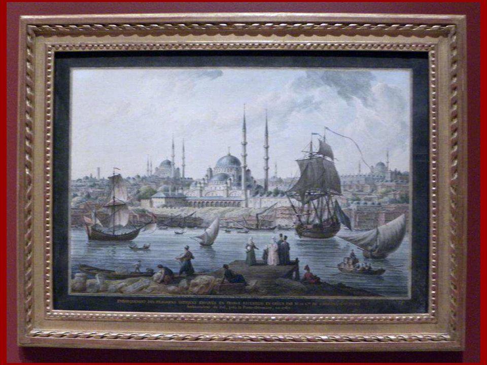 Yeni Cami ve İstanbul Limanı Jean-Baptiste Hilair (Hilaire) Kağıt üstüne suluboya 1789 Yeni Cami and The Port of Istanbul Jean-Baptiste Hilair (Hilair
