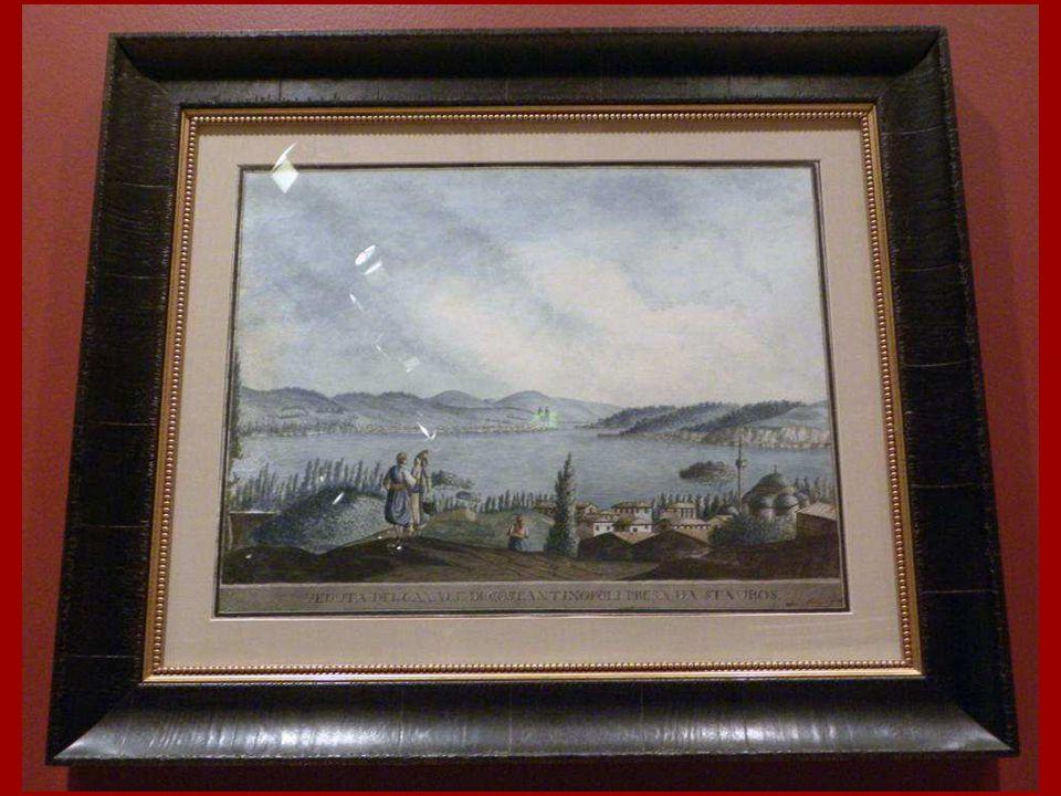 Beylerbeyi sırtlarından İstanbul Boğazı'nın Görünümü Clara Barthold Mayer Kağıt üstüne suluboya 18. yüzyıl sonu View of the Bosphorus as seen from the