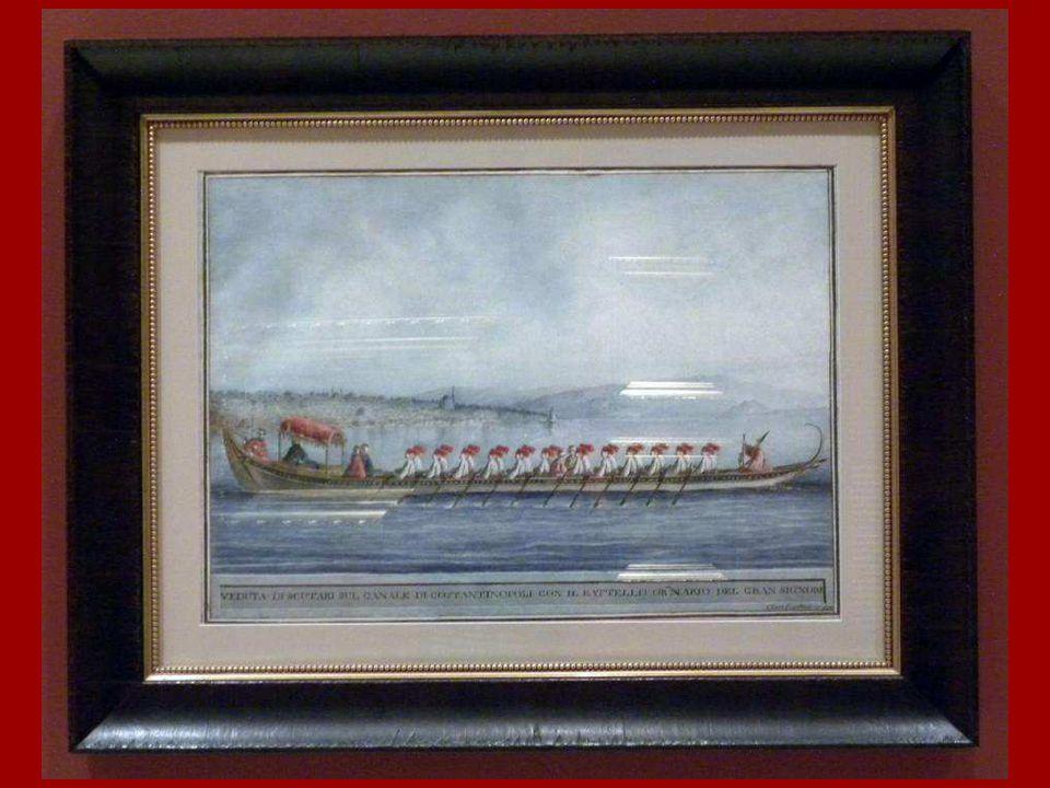 Padişahın Saltanat Kayığı Üsküdar Önlerinde Clara Barthold Mayer Kağıt üstüne suluboya 18. yüzyıl sonu The Sultan's Imperial Caï que off the Shores of