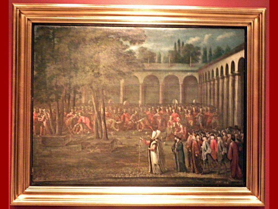 Elçi Heyetinin Topkapı Sarayı'nın İkinci Avlusu'ndan Geçişi, Jean Baptiste Vanmour, Tuval üstüne yağlıboya 1725 The Ambassadorial Delegation Passing t