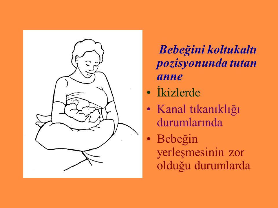 Bebeğini koltukaltı pozisyonunda tutan anne İkizlerde Kanal tıkanıklığı durumlarında Bebeğin yerleşmesinin zor olduğu durumlarda