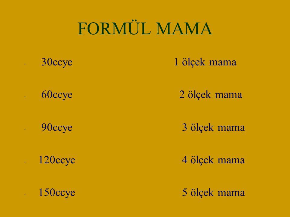 FORMÜL MAMA 30ccye 1 ölçek mama 60ccye 2 ölçek mama 90ccye 3 ölçek mama 120ccye 4 ölçek mama 150ccye 5 ölçek mama