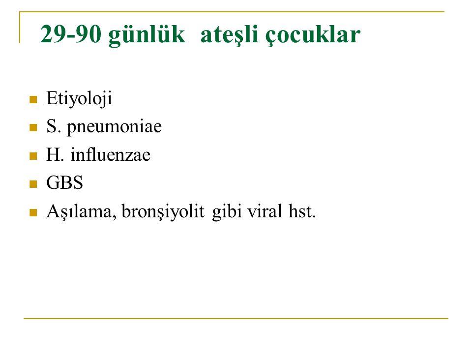 29-90 günlük ateşli çocuklar Etiyoloji S. pneumoniae H. influenzae GBS Aşılama, bronşiyolit gibi viral hst.
