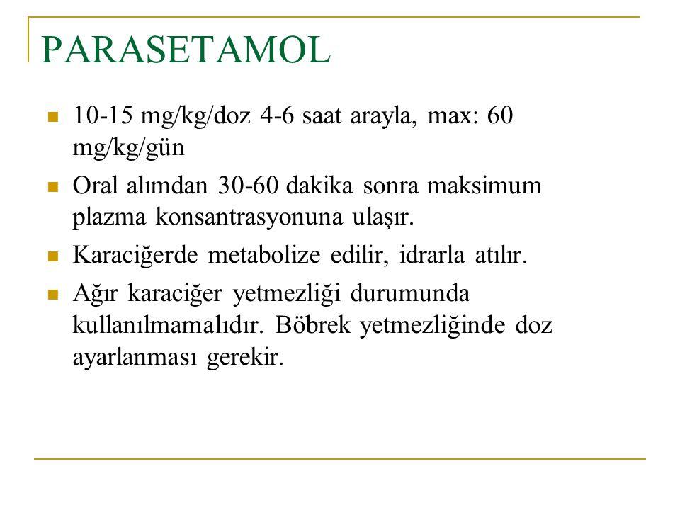 PARASETAMOL 10-15 mg/kg/doz 4-6 saat arayla, max: 60 mg/kg/gün Oral alımdan 30-60 dakika sonra maksimum plazma konsantrasyonuna ulaşır. Karaciğerde me