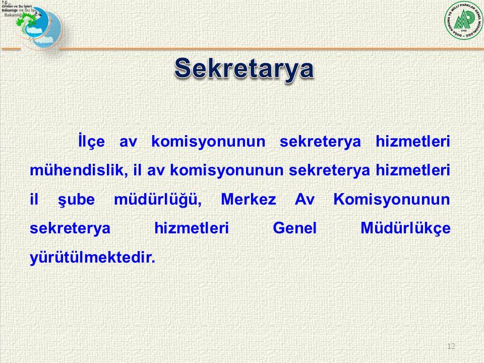 12 İlçe av komisyonunun sekreterya hizmetleri mühendislik, il av komisyonunun sekreterya hizmetleri il şube müdürlüğü, Merkez Av Komisyonunun sekreter
