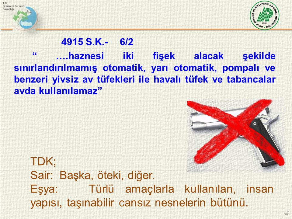 """49 4915 S.K.-6/2 """" ….haznesi iki fişek alacak şekilde sınırlandırılmamış otomatik, yarı otomatik, pompalı ve benzeri yivsiz av tüfekleri ile havalı tü"""