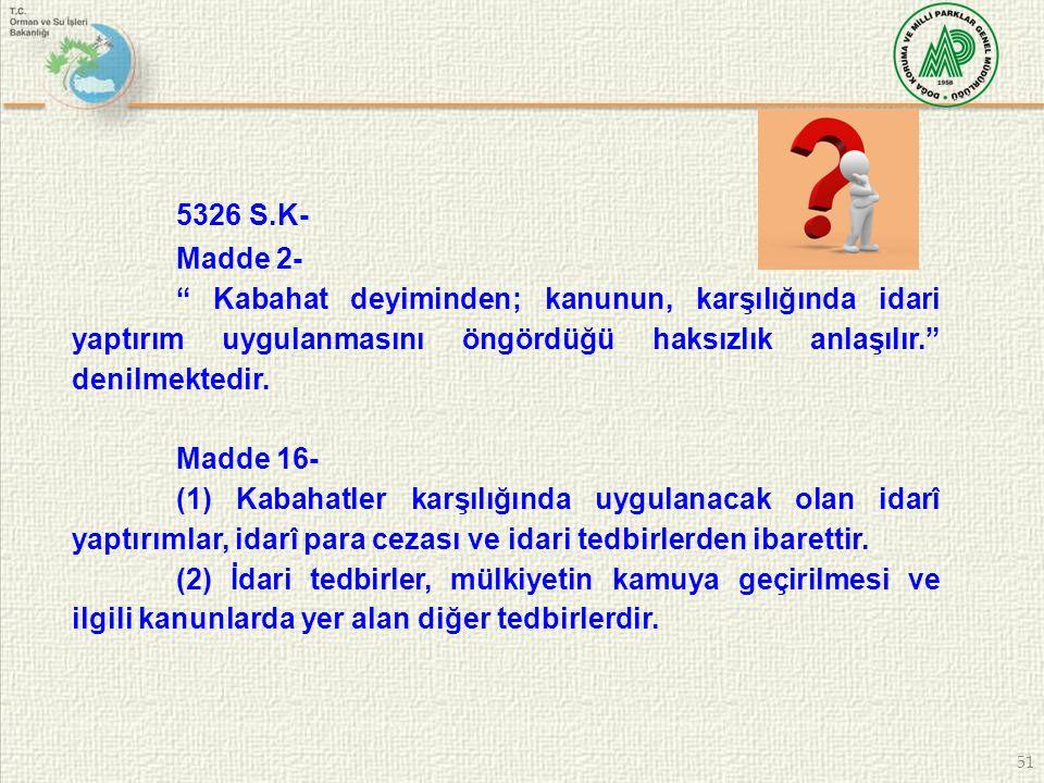 """51 5326 S.K- Madde 2- """" Kabahat deyiminden; kanunun, karşılığında idari yaptırım uygulanmasını öngördüğü haksızlık anlaşılır."""" denilmektedir. Madde 16"""