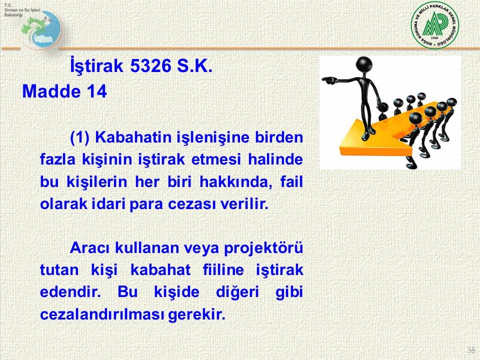 58 İştirak 5326 S.K. Madde 14 (1) Kabahatin işlenişine birden fazla kişinin iştirak etmesi halinde bu kişilerin her biri hakkında, fail olarak idari p