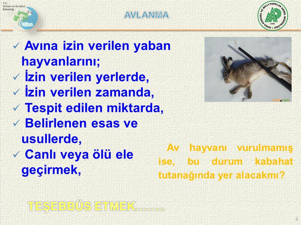 17 Merkez Av Komisyonu Av hayvanlarını koruma altına almak Av hayvanı türlerinin avını, bölgesel olarak yasaklayabilir Avlanma sürelerini, günlerini, zamanını ve miktarını Avlanmada kullanılması yasak olan araç ve gereçlerin özelliklerini Yasaklanan Avlanma Sahalarının Tespiti