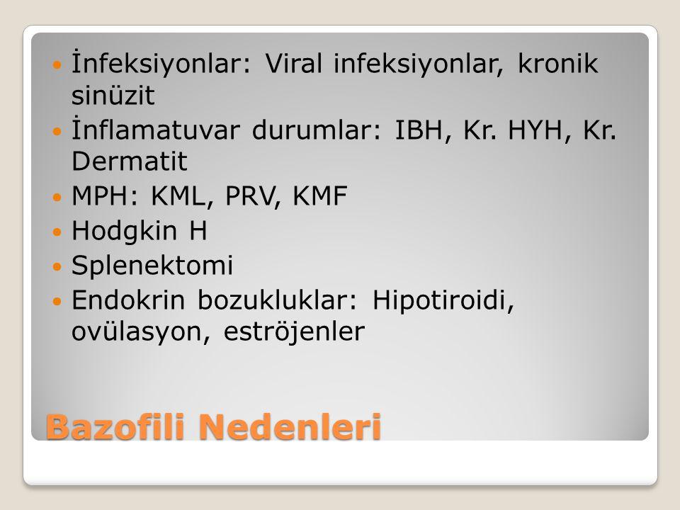 İnfeksiyonlar: Viral infeksiyonlar, kronik sinüzit İnflamatuvar durumlar: IBH, Kr. HYH, Kr. Dermatit MPH: KML, PRV, KMF Hodgkin H Splenektomi Endokrin