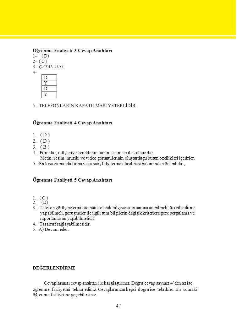 Öğrenme Faaliyeti 3 Cevap Anahtarı 1-( D) 2- ( C ) 3- ÇATAL ALTI. 4- D Y D Y 5- TELEFONLARIN KAPATILMASI YETERLİDİR. Öğrenme Faaliyeti 4 Cevap Anahtar