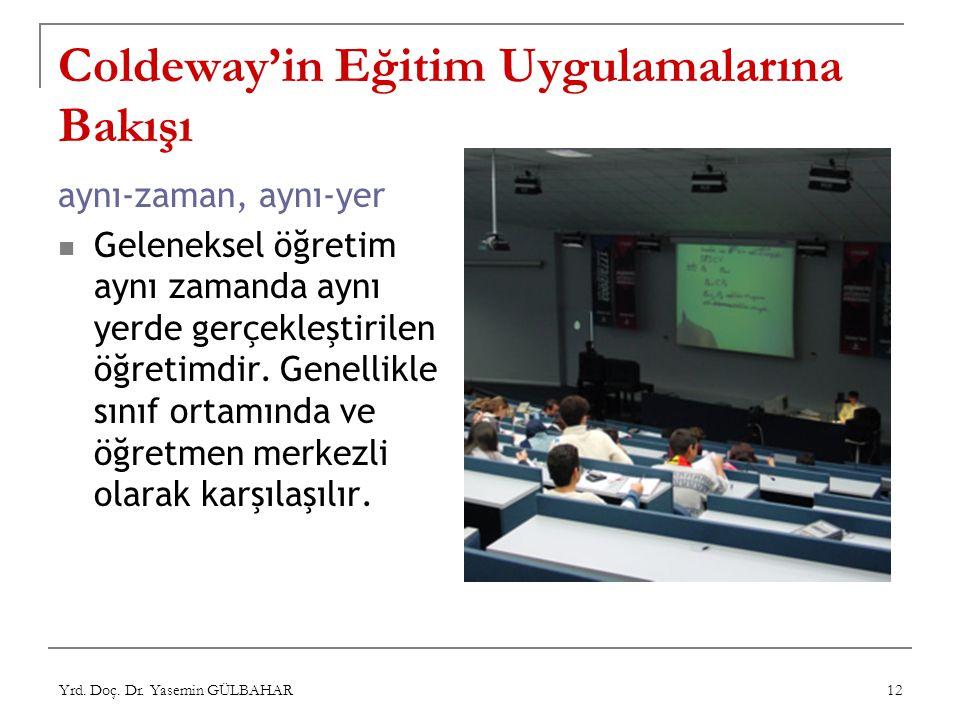 Yrd. Doç. Dr. Yasemin GÜLBAHAR 12 Coldeway'in Eğitim Uygulamalarına Bakışı aynı-zaman, aynı-yer Geleneksel öğretim aynı zamanda aynı yerde gerçekleşti