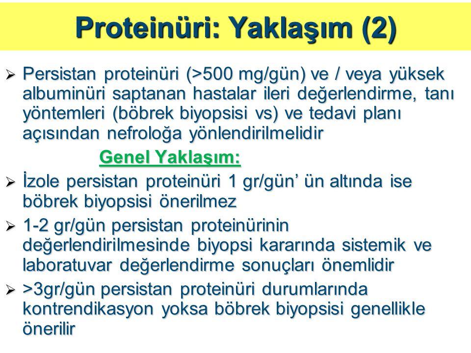 Proteinüri: Yaklaşım (2)  Persistan proteinüri (>500 mg/gün) ve / veya yüksek albuminüri saptanan hastalar ileri değerlendirme, tanı yöntemleri (böbr