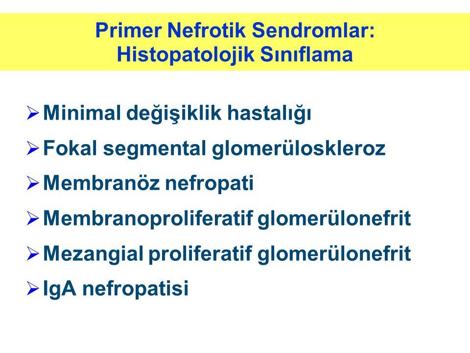 Primer Nefrotik Sendromlar: Histopatolojik Sınıflama  Minimal değişiklik hastalığı  Fokal segmental glomerüloskleroz  Membranöz nefropati  Membran
