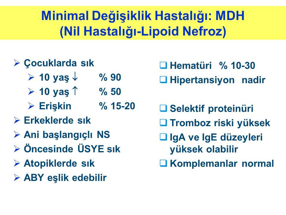 Minimal Değişiklik Hastalığı: MDH (Nil Hastalığı-Lipoid Nefroz)  Çocuklarda sık  10 yaş  % 90  10 yaş  % 50  Erişkin% 15-20  Erkeklerde sık  A
