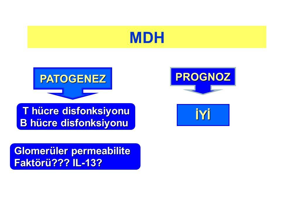 T hücre disfonksiyonu B hücre disfonksiyonu PATOGENEZ PROGNOZ İYİ MDH Glomerüler permeabilite Faktörü??? IL-13?