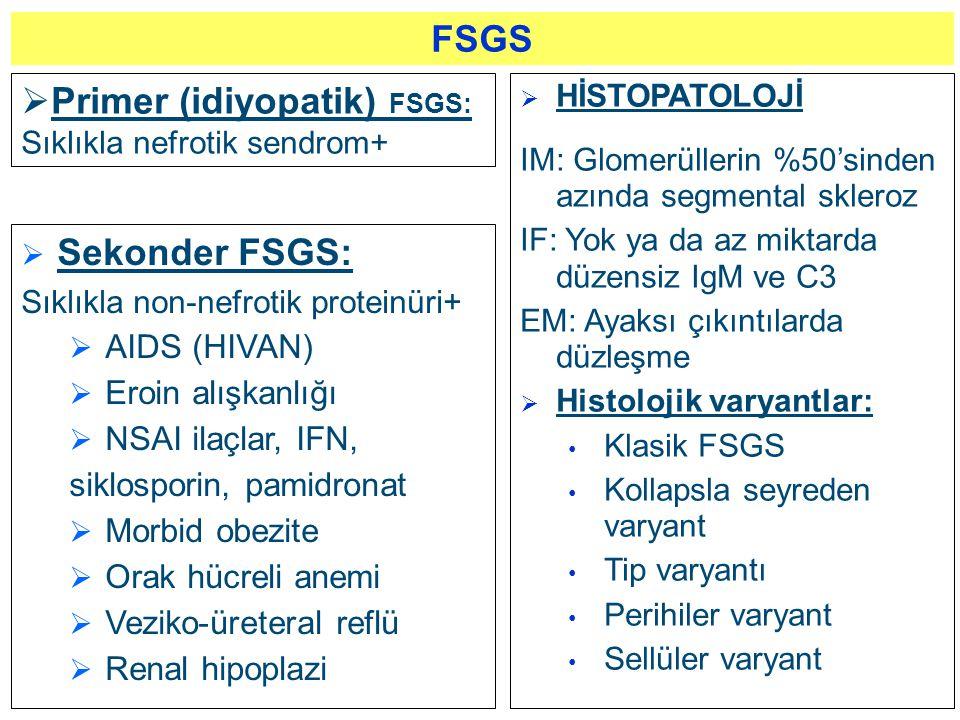  Sekonder FSGS: Sıklıkla non-nefrotik proteinüri+  AIDS (HIVAN)  Eroin alışkanlığı  NSAI ilaçlar, IFN, siklosporin, pamidronat  Morbid obezite 