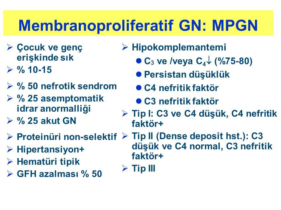 Membranoproliferatif GN: MPGN  Çocuk ve genç erişkinde sık  % 10-15  % 50 nefrotik sendrom  % 25 asemptomatik idrar anormalliği  % 25 akut GN  P