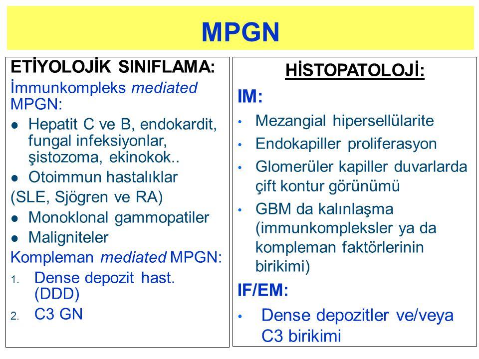ETİYOLOJİK SINIFLAMA: İmmunkompleks mediated MPGN: l Hepatit C ve B, endokardit, fungal infeksiyonlar, şistozoma, ekinokok.. l Otoimmun hastalıklar (S