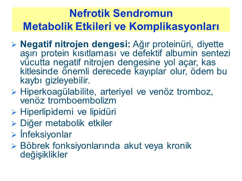 Nefrotik Sendromun Metabolik Etkileri ve Komplikasyonları  Negatif nitrojen dengesi: Ağır proteinüri, diyette aşırı protein kısıtlaması ve defektif a