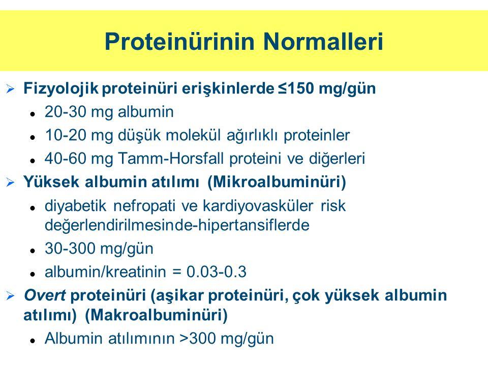 Proteinüri: Tanımlar ve Türleri (1) (Persistan Proteinüriler)   İzole proteinüri: Hematüri veya GFH'de azalma olmaksızın proteinüri olması   Ortostatik proteinüri: (<1-2 g/gün) (30 yaş üzerinde sık görülmez, adolesanlarda %2-5+)   Glomerüler proteinüri   Tübüler (tübulointerstisyel) proteinüri   Taşma proteinürisi   Post-renal proteinüri İdrarda hem albumin hem de total proteinin ölçülmesi proteinürinin türünün saptanmasına yardımcı olabilir İdrarda [albumin] / [protein] > 0.4 ise ağırlıklı olarak glomerüler proteinüri