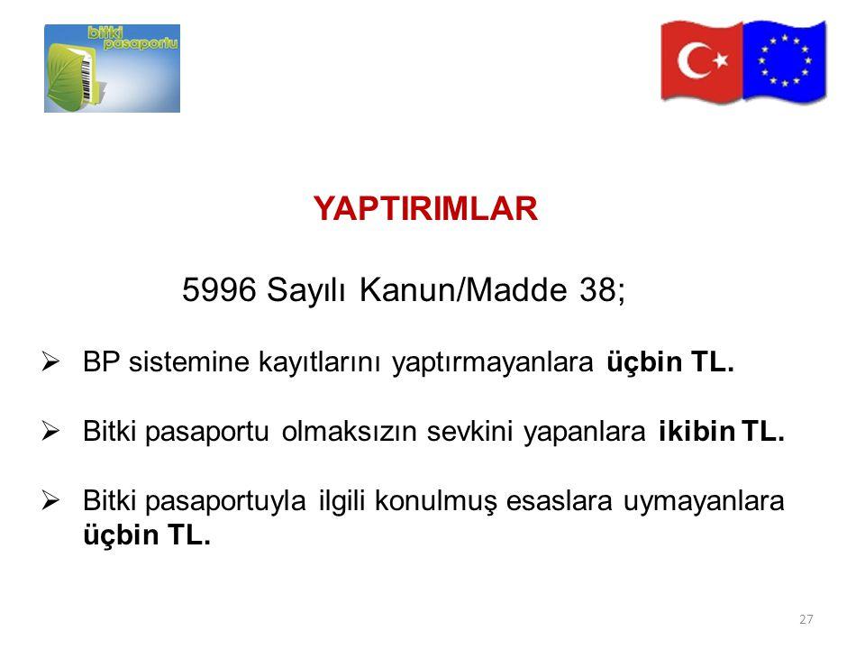 YAPTIRIMLAR 5996 Sayılı Kanun/Madde 38;  BP sistemine kayıtlarını yaptırmayanlara üçbin TL.  Bitki pasaportu olmaksızın sevkini yapanlara ikibin TL.