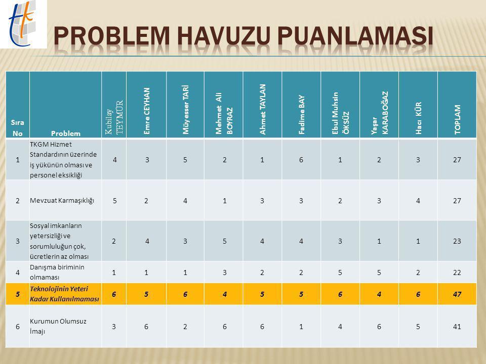 1.Tapu ve Kadastro Müdürlükleri için belirlenen hizmet standartlarının üzerinde iş yükünün olması ve personelin sayısal olarak eksikliği. 2. Mevzuat K