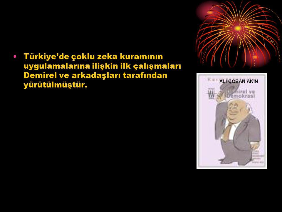 Türkiye'de çoklu zeka kuramının uygulamalarına ilişkin ilk çalışmaları Demirel ve arkadaşları tarafından yürütülmüştür. ALİ ÇOBAN AKIN