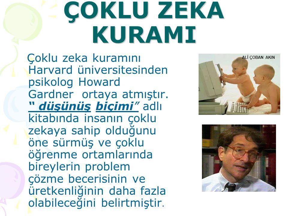 ÇOKLU ZEKA KURAMI Çoklu zeka kuramını Harvard üniversitesinden psikolog Howard Gardner ortaya atmıştır.