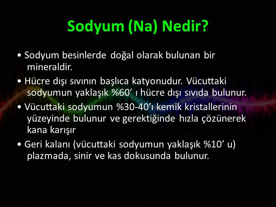 Sodyum (Na) Nedir.Sodyum besinlerde doğal olarak bulunan bir mineraldir.