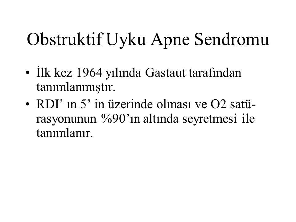 Obstruktif Uyku Apne Sendromu İlk kez 1964 yılında Gastaut tarafından tanımlanmıştır.
