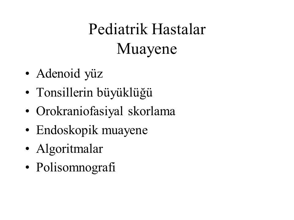 Pediatrik Hastalar Muayene Adenoid yüz Tonsillerin büyüklüğü Orokraniofasiyal skorlama Endoskopik muayene Algoritmalar Polisomnografi