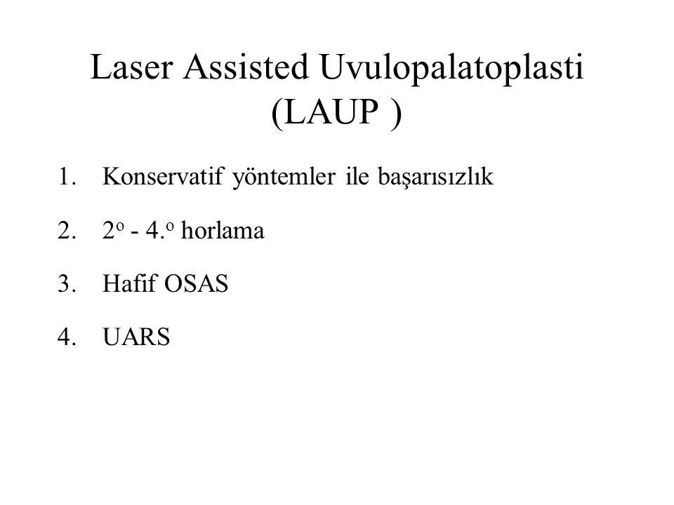 Laser Assisted Uvulopalatoplasti (LAUP ) 1.Konservatif yöntemler ile başarısızlık 2.2 o - 4.