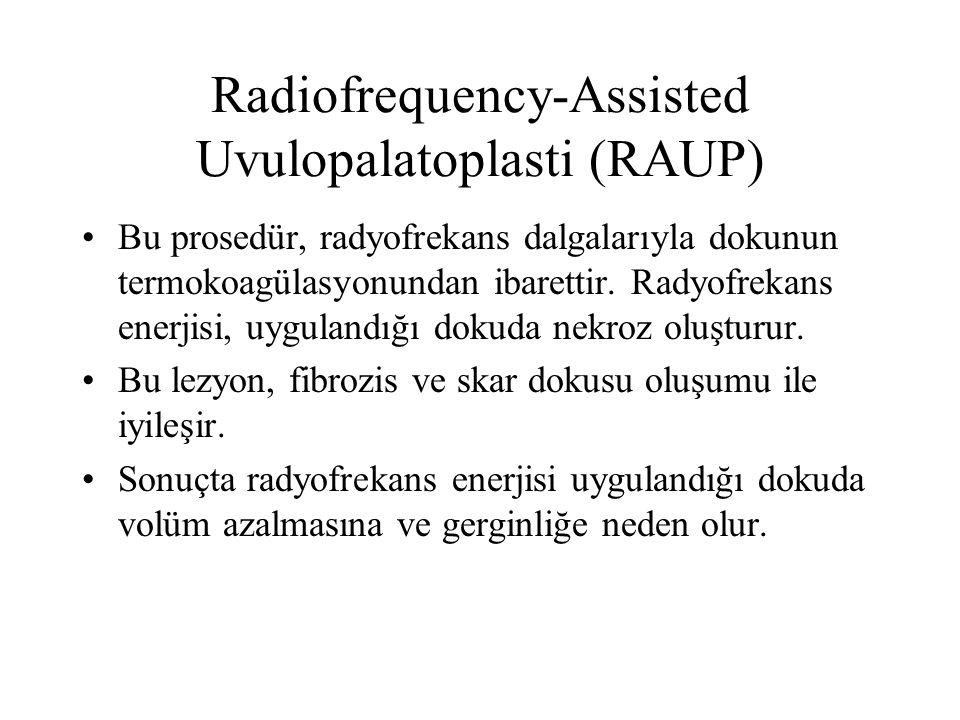 Radiofrequency-Assisted Uvulopalatoplasti (RAUP) Bu prosedür, radyofrekans dalgalarıyla dokunun termokoagülasyonundan ibarettir.