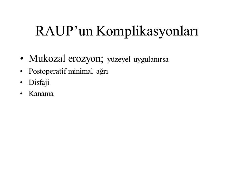 RAUP'un Komplikasyonları Mukozal erozyon; yüzeyel uygulanırsa Postoperatif minimal ağrı Disfaji Kanama