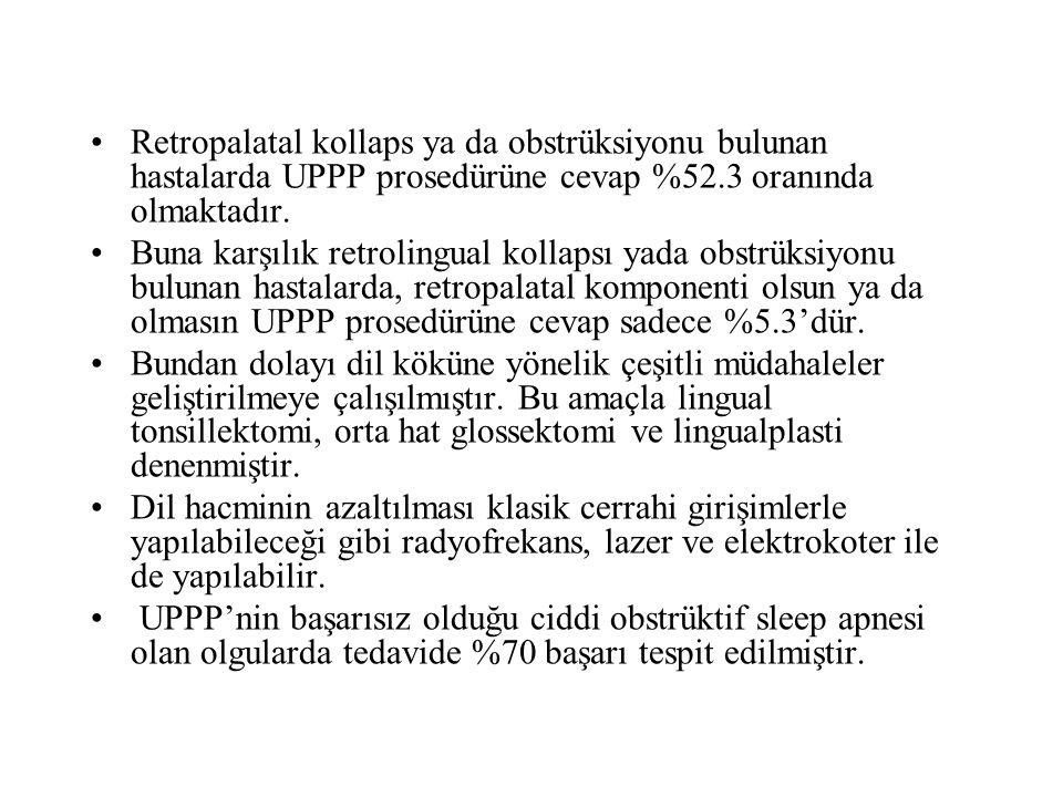 Retropalatal kollaps ya da obstrüksiyonu bulunan hastalarda UPPP prosedürüne cevap %52.3 oranında olmaktadır.