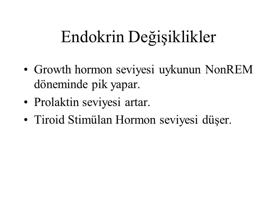 Endokrin Değişiklikler Growth hormon seviyesi uykunun NonREM döneminde pik yapar.