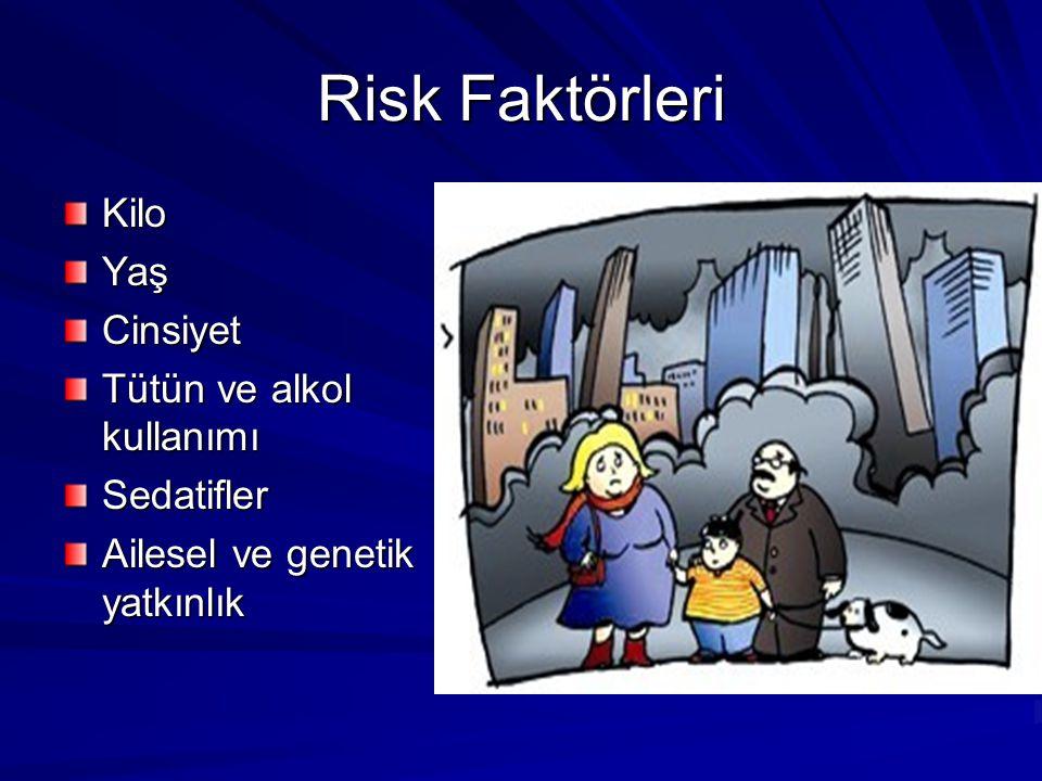Risk Faktörleri KiloYaşCinsiyet Tütün ve alkol kullanımı Sedatifler Ailesel ve genetik yatkınlık