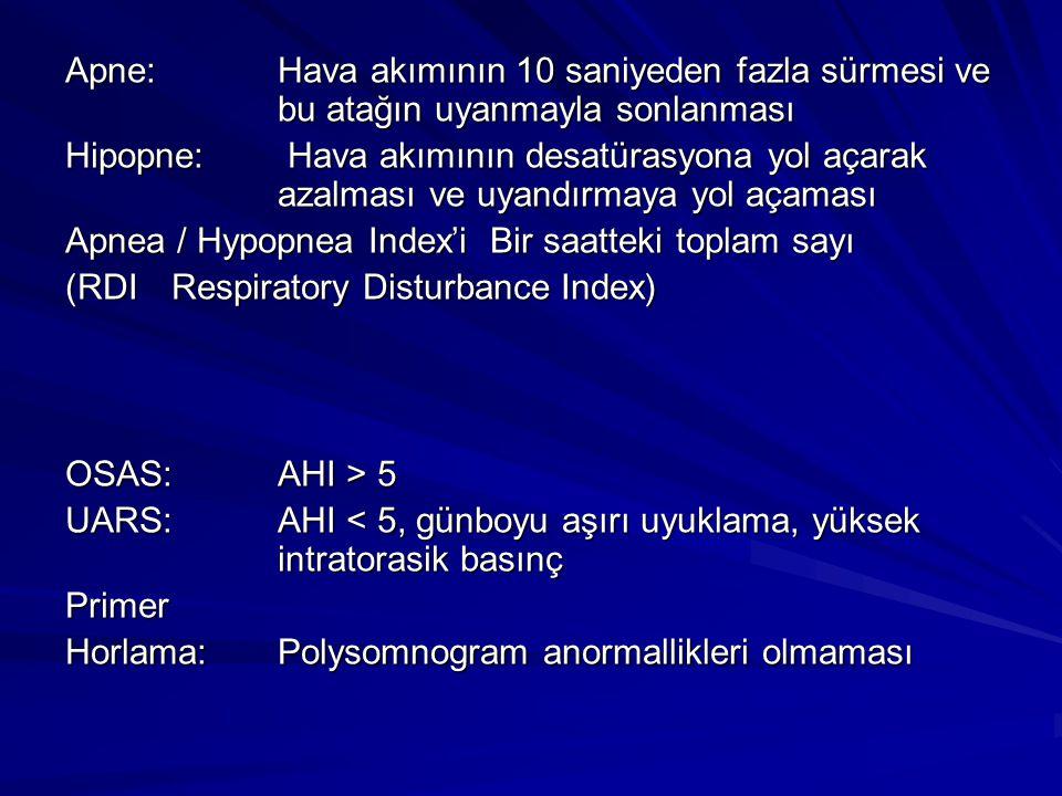 Apne: Hava akımının 10 saniyeden fazla sürmesi ve bu atağın uyanmayla sonlanması Hipopne: Hava akımının desatürasyona yol açarak azalması ve uyandırmaya yol açaması Apnea / Hypopnea Index'i Bir saatteki toplam sayı (RDIRespiratory Disturbance Index) OSAS: AHI > 5 UARS: AHI < 5, günboyu aşırı uyuklama, yüksek intratorasik basınç Primer Horlama: Polysomnogram anormallikleri olmaması