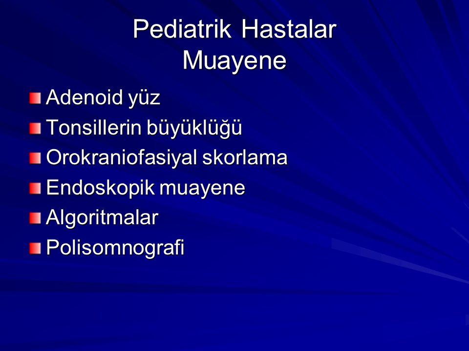 Pediatrik Hastalar Muayene Adenoid yüz Tonsillerin büyüklüğü Orokraniofasiyal skorlama Endoskopik muayene AlgoritmalarPolisomnografi