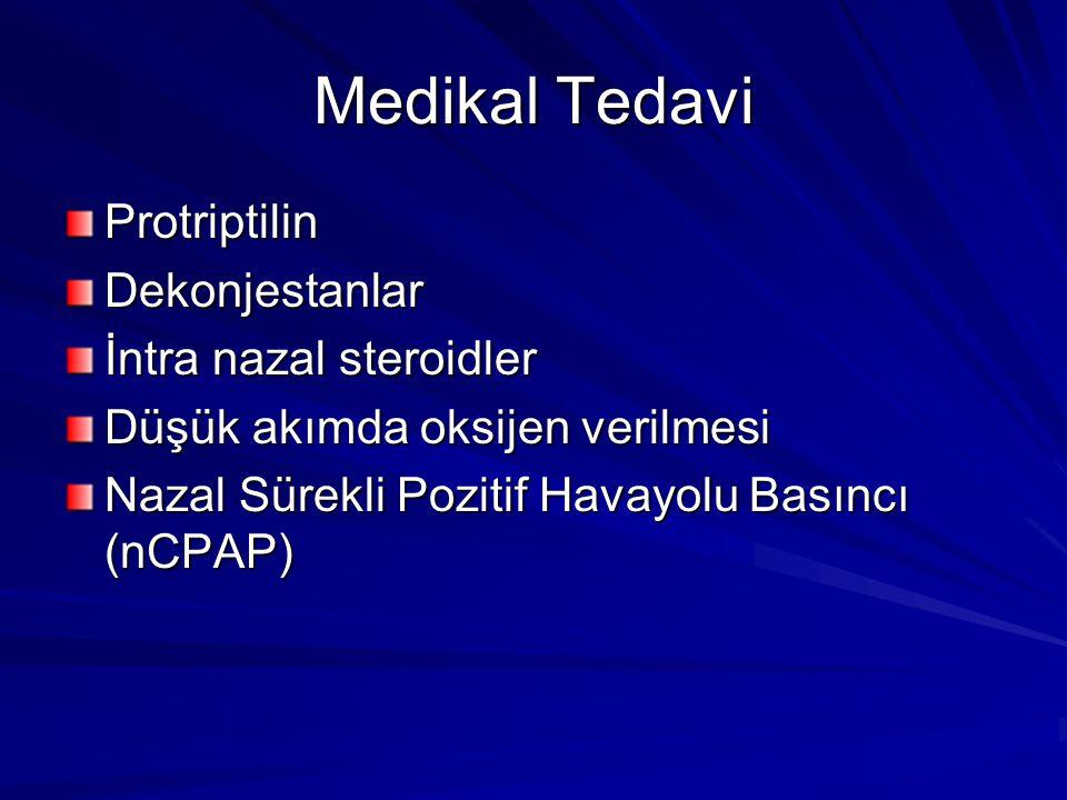 Medikal Tedavi ProtriptilinDekonjestanlar İntra nazal steroidler Düşük akımda oksijen verilmesi Nazal Sürekli Pozitif Havayolu Basıncı (nCPAP)