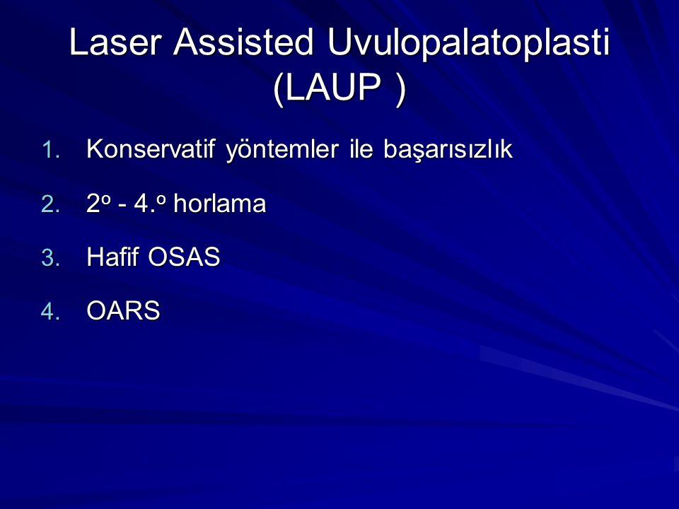 Laser Assisted Uvulopalatoplasti (LAUP ) 1.Konservatif yöntemler ile başarısızlık 2.