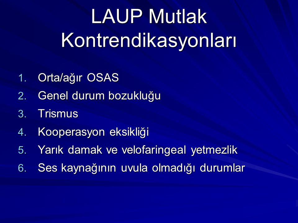 LAUP Mutlak Kontrendikasyonları 1.Orta/ağır OSAS 2.