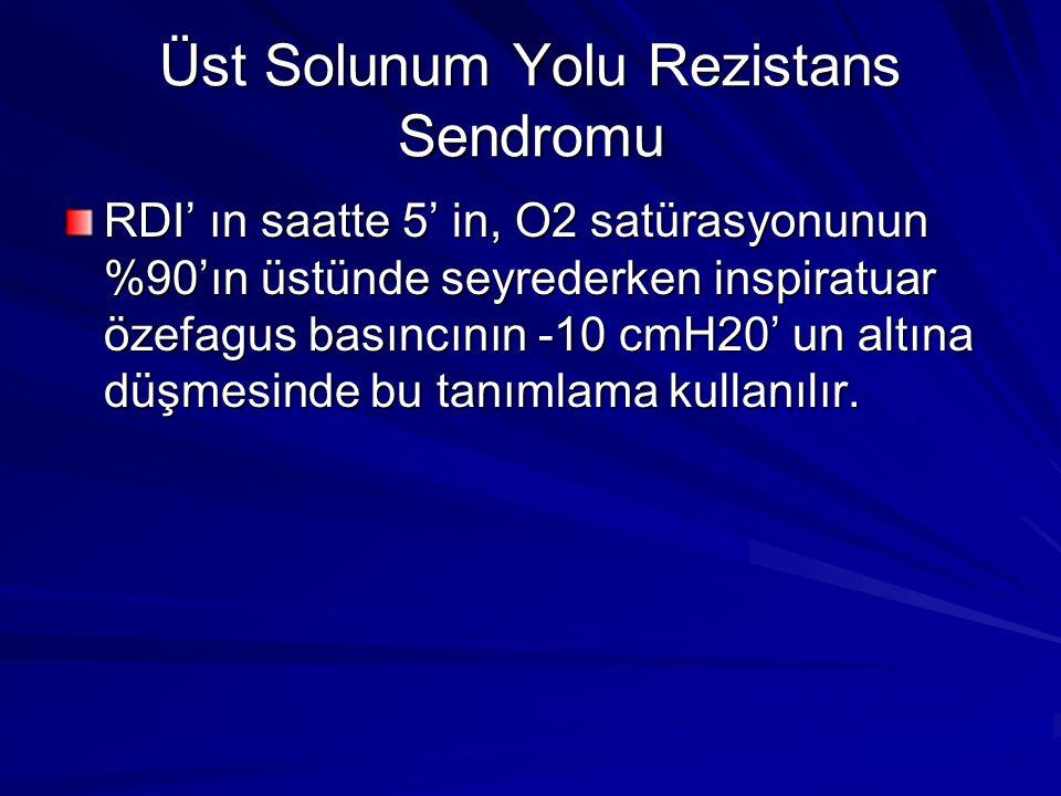 Üst Solunum Yolu Rezistans Sendromu RDI' ın saatte 5' in, O2 satürasyonunun %90'ın üstünde seyrederken inspiratuar özefagus basıncının -10 cmH20' un altına düşmesinde bu tanımlama kullanılır.