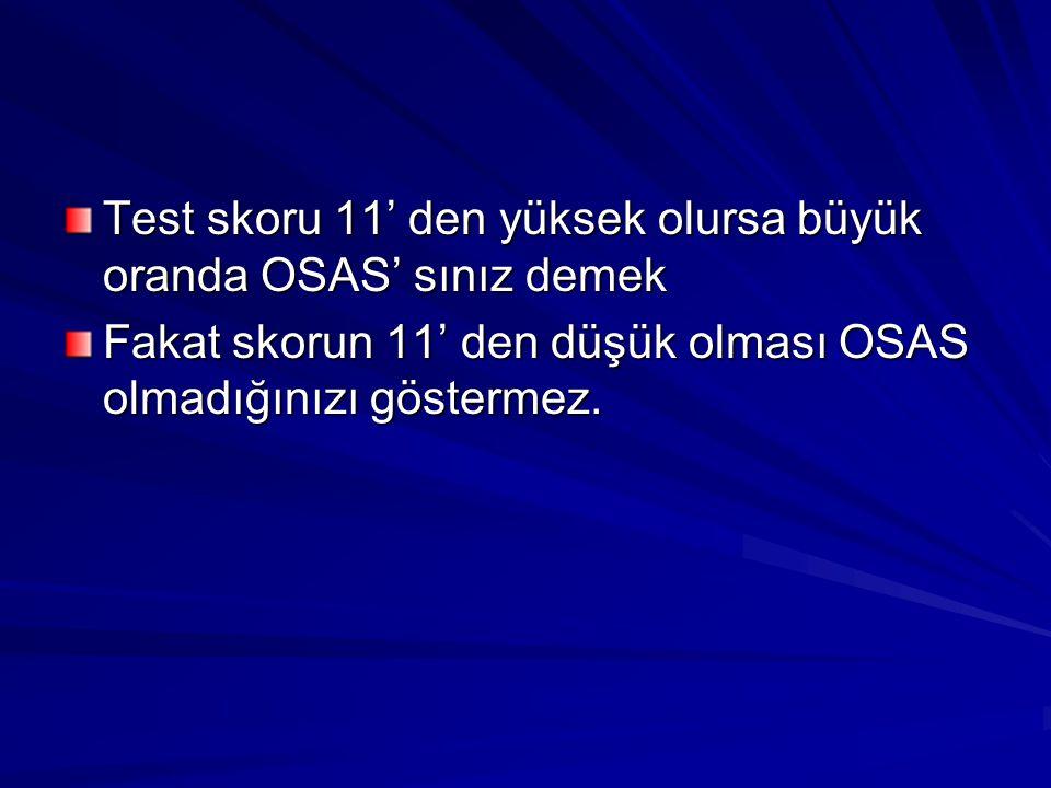 Test skoru 11' den yüksek olursa büyük oranda OSAS' sınız demek Fakat skorun 11' den düşük olması OSAS olmadığınızı göstermez.