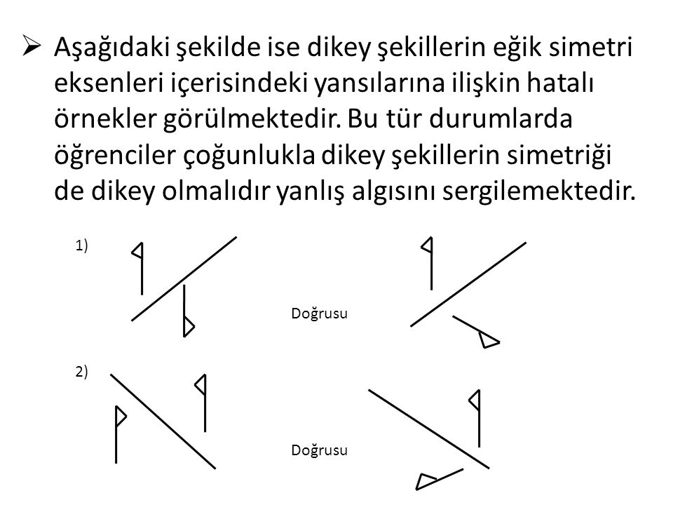  Aşağıdaki şekilde ise dikey şekillerin eğik simetri eksenleri içerisindeki yansılarına ilişkin hatalı örnekler görülmektedir. Bu tür durumlarda öğre