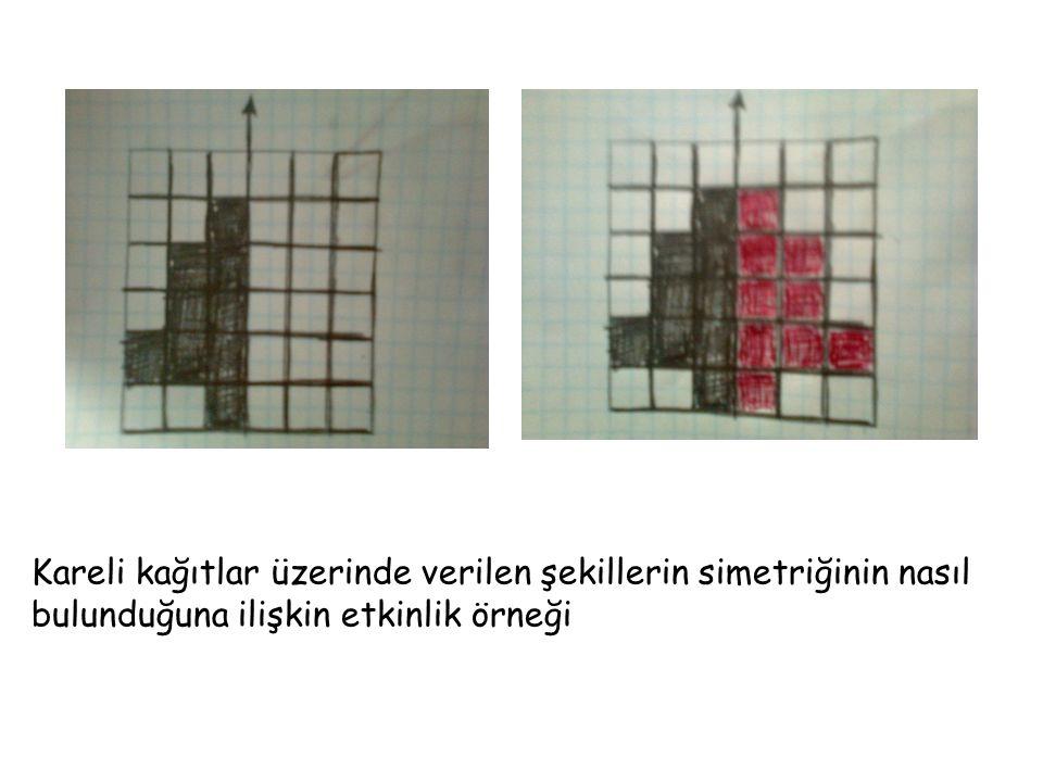 Kareli kağıtlar üzerinde verilen şekillerin simetriğinin nasıl bulunduğuna ilişkin etkinlik örneği