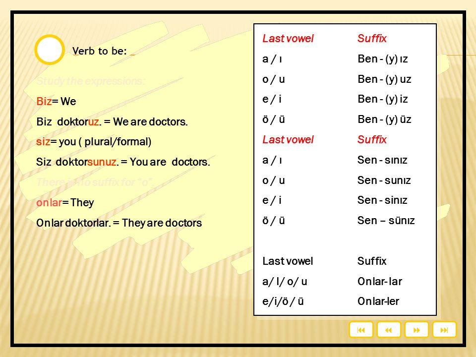 Verb to be: Study the expressions: Biz= We Biz doktoruz.