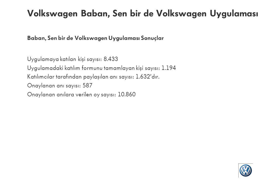 Baban, Sen bir de Volkswagen Volkswagen Türkiye sayfasında gerçekleşti.